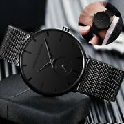Menand039s Watch Relojes De Hombre Minimalist Ultra Thin Stainless Steel Wristwatches