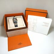Hermes Medor Watch Ss Leather Belt □ R White Silver Black With Accessories Wom