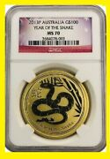 2013 Australia Chinese Lunar Year Of The Snake Ngc Ms 70 1 Oz 9999 Gold Flag Lbl