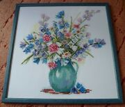 Handmade Big Cross Stitching Cross-stitch Picture Wooden Frame 13x13in. Flowers