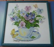 Handmade Big Cross Stitching Cross-stitch Picture Wooden Frame 11x11in. Pansies