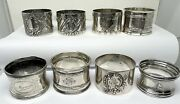 Collection Of 8 French 950 Silver Belle Époque Napkin Rings