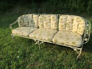 Vintage Wrought Iron Woodard 6 Piece Patio Set Couchchairstables W/ Cushions