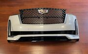 2021 Cadillac Escalade Front Bumper Assembly With Sensors Camera And Lights White
