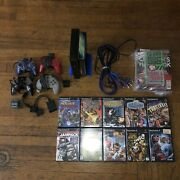 Sony Playstation 2 Scph-30001 Lot - 10 Games - 4 Controllers - 4 Memory Cards ++