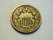 1868 Vg Shield Nickel, Nice Low Priced Vintage Coin For A Collection