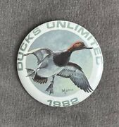 """Vintage Ducks Unlimited Pinback Pin 2.25"""" Button 1982 Canvasback"""