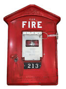 Vintage Original Gamewell Fire Alarm Box, Newton Mass.-complete With Key 213