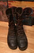 Vintage Wwii Era Us Army Military Paratrooper Uniform Brown Leather Boots. 10r
