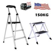 2/3 Steps Ladder Folding Non Slip Safety Tread Heavy Duty Industrial Home Use