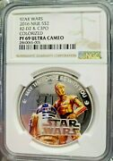 2016 Niue 1 Oz Silver 2 Coin Star Wars R2-d2 And C3po Ngc Pf69uc Pop 6