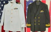 Us Navy Officer Uniform Lcdr White + Blue Uniforms 44r 36x30 W/ Ribbons - Lot