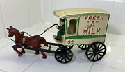 Vintage Cast Iron Toy Horse And Wagon Fresh A Milk