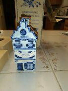 Delft Blue Hand Painted 1780 P Hoppe Holland Ceramic House 1950andrsquos 3 Story House.