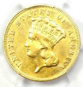 1878 Three Dollar Indian Gold Coin 3 - Certified Pcgs Au Details - Rare Coin