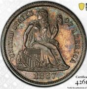 1867 P Seated Liberty Dime 10c. Tough Philly Business Strike With Sharp Details