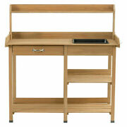 Costway Outdoor Potting Table Bench Garden Planting Work Station W/ Open Shelves