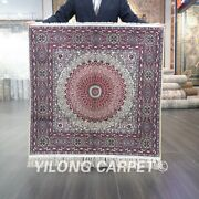 3and039x3and039 High Density Square Tapestry Handknotted Silk Carpet Luxury Rug L051h