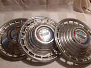 Set Of 3 Vintage 1963 Ford Passenger Chrome Hubcaps 14 Galaxie