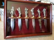 Franklin Mint Legends Of The Old West Bowie Knives - Set Of 6 W/ Display Case
