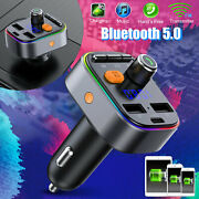 Bluetooth 5.0 Car Fm Transmitter Radio Mp3 Wireless Aux Adapter 3usb Pd Charger