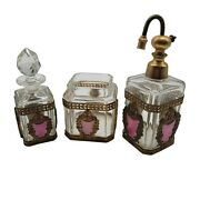 French Glass Brass And Pink Perfume Dresser Set Vintage Beauty De26