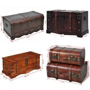 Antique Treasure Chest Wooden Storage Large Trunk Organizer Box Coffee Table