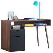 Modern Computer Desk Pc Writing Table Wood Legs Workstation W/drawer Andcabinet