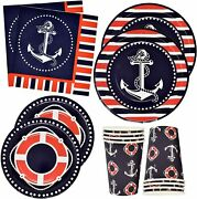 Nautical Anchor Party Supplies Set 24 9and039 Plates 24 7and039 Plate 24 9 Oz Cups 50 Lunc