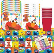 1st Birthday Elmo Party Plates Napkins Cups And Table Cover Serves 16 With Birth