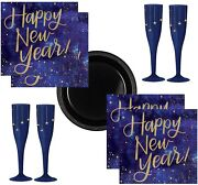 New Years Eve Party Supplies For 16 Guests Champagne Flutes Plates And Napkins