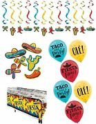 Fiesta Party Decorations, Mexican Theme Cinco De Mayo Taco Tuesday Table Cover B