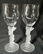 Aderia Frosted Nude Woman Lady Stem Water/ Wine Glass Goblet Flowers