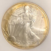 2003 American Silver Eagle Coin,, A Perfect Coin With Beautiful Gold Toning