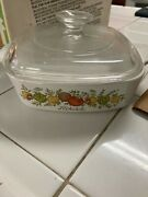 Corning Spice Of Life 1qt Square Casserole Baking Dish A-1-b With Lid A-1-8 Srandnbsp