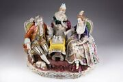 Antique 1913-1920 Subject Composition Playing Chess Figurine Carl Thieme Marked