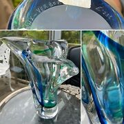 Rare Signed Max Verboeket Maastricht Art Glass Vase Sommerso Heavy Mint No E532