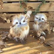 2 X Beautiful 15cm Plush Natural Colours Owl Standing Christmas Tree Decorations