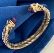 Vintage David Yurman Double X Cable Cuff Bracelet 14k Gold And Sterling 2 Amethyst