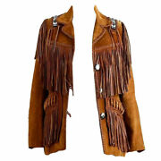 Women Tan Brown Western Style Suede Leather Jacket With Fringes