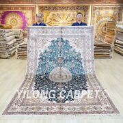 6x9ft Blue Silk Rug Handknotted Home Office Traditional Indoor Carpet 044c
