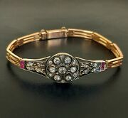 Russian Gold Antique Bracelet - Old Cut Diamond And Ruby - 14ct - C.1880