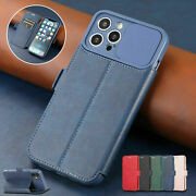 For Iphone 12 11 Pro Max Xs Xr 8 7 6 Slide Camera Protect Card Wallet Stand Case