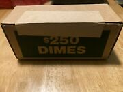 Sealed, Unopened, Box Of Us. Dimes 50 Rolls Unsearched For Silver Or Errors