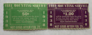 1938 Unused Free Mounting Service Stamp Coupons Green And Purple