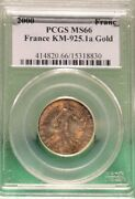 2000 France 1 Franc Gold Coin Km-925.1a Pcgs