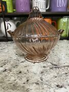 Rare Jeanette Glass Pink Petal Swirl Covered Footed Candy Dish Depression Glass