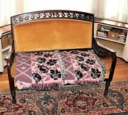 Antique Settee In Original State With Fretted Woodwork Yellow Fabric Cushions