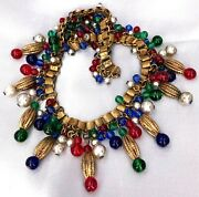 Haskell Glass Dangle Bead Book Chain Necklacejeweltoneart Decopearlspre-1940