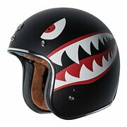 Torc T50 Route 66 3/4 Helmet With 'flying Tiger' Graphic Flat Black Medium